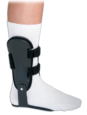 The articulating hinged AFO has hinged side plates and foot plates to control inversion/eversion.
