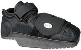 The darco heelwedge off-loads the heel by shifting weight to the mid-foot
