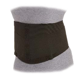 The elastic back Support has a 8 inch elastic construction with contact closures