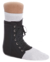The lace-Up ankle brace has sturdy canvas stirrup design with removable plastic medial/lateral stays