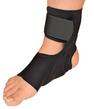 Pneumatic foot device has cells located under the foot arch and both sides of the heel. This provides compression that helps reduce pain, discomfort