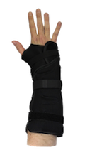 The wrist brace has a removable aluminum palmar stay that provides proper positioning and support