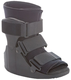 The ankle stabilizer is a walker with plastic molded uprights with steel reinforcement for increased durability.