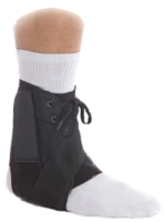 The stabilizing ankle brace has removable plastic medial/lateral stays
